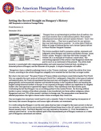 The Treaty of Trianon: A Hungarian Tragedy: American Hungarian