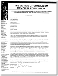 [Download] the Victims of Communism Memorial Foundation Open Letter to Romanian President Traian Basescu