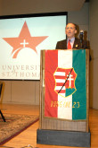 AHF's Phillip Aronoff addresses the audience at the the Symposium on the 1956 Hungarian Revolution at the University of St. Thomas in Houston