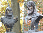 Gyuri Hollosy's King Arpad and Saint Stephen at Sunset Memorial Park's Hungarian Memorial in North Olmstead, Ohio.