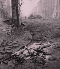 A Soviet Soldier dead on the streets of a devasted Budapest