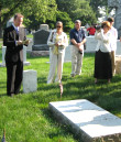 Bryan Dawson-Szilagyi presents Capt. Ödön Gurovits' history before placing the AHF commemorative ribbon on his gravesite.