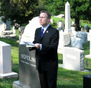 Chairman of AHF's Executive Committee, Bryan Dawson-Szilagyi opens the Memorial Day Ceremony on May 29, 2006