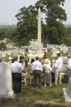 The crowd gathers near the Gen. Alexander Asboth gravesite. Following the wreath laying, the program included a remembrance and walking tour of Hungarian-American gravesites.