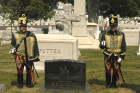 The First Califiornia Hussar Regiment on guard at the General Asboth gravesite atArlington National Cemetery
