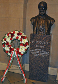 """A Gift to the People of the United States from the American Hungarian Federation."" The bust is one of only two honoring non-Americans in the Capitol. The base reads, ""Louis Kossuth, Father of Hungarian Democracy."""