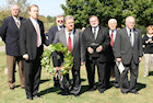 WPA's Steven Varga and Endre Csoman; AHF's Bryan Dawson; Bethlen Home's Rev. Imre Bertalan, Jr.; and Hungarian-American leaders prepare to lay wreath at the Darr Mine Commemoration at Olive Branch Church in Rostraver, PA
