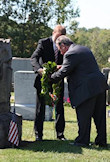 The Darr Mine Commemoration at Olive Branch Church in Rostraver, PA: Bryan Dawson and Endre Csoman, seen here, laying a wreath at the AHF Memorial which sits above a common grave where unidentified remains of some 70 miners are buried.