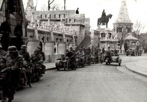 German Nazi forces in Budapest's Fisherman's Bastion shortly after the invasion.