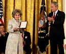 Tom Lantos, who died in February of esophageal cancer, will be honored with the Presidential Medal of Freedom, the nation's highest civilian honor: His wife, Annette, is seen here accepting the award from President Bush