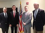 AHF meets with State Secretary Bence Retvari (KDNP) representing a Hungarian delegation visiting the United States at the invitation of the US Department of State�s International Visitors Leadership Program. Left to Right: Paul Kamenar, Bence Retvari, Bryan Dawson, Frank Koszorus