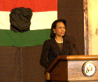 US Secretary of State, Condoleezza Rice, sponsors reception in  honor of teh 50th Aniiversary of the 1956 Hungarian Revolution [© Bryan Dawson-Szilagyi, AHF News Service]