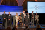 Sylvester Vizi presented the award to Co-President Gyula Elemér Balogh who accepted the award on behalf of the Federation and to 5 other Board and AHF members who were on the podium including AHF Chairman Ferenc Koszorus, Jr., Zsuzsanna Dreisziger-Stricz, Katalin Kádár Lynn, Prof. András Ludányi, the Honorable Anikó Gáal Schott, and chair of the AHF Youth Committee, Bertalan Kolus.