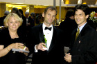 "Zsuzsa and Atilla Kocsis with Steven Fischer (produxer of ""Freedom Dance: The Movie,"" during the Cocktail Hour at the Hungarian May Ball"