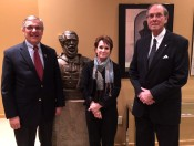 Left to Right: Paul Kamenar, Marianne Koszorus, AHF President Frank Koszorus pose with bust of Louis Kossuth
