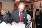 "AHF President Frank Koszorus at book signing in Budapest about his father Holocaust Hero Col. Ferenc Koszorus - ""Armored Soldiers for Life: Ferenc Koszorus a Hero of the Holocaust"" (""Páncélosokkal az életért: Koszorús Ferenc a Holokauszt hőse"")"