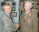 AHF's Dr. Emery Imre Toth awards Bela Kiraly the Col. Michael Kovats Medal of Freedom